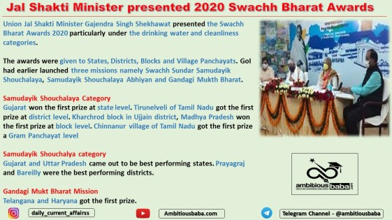 Jal Shakti Minister presented 2020 Swachh Bharat Awards