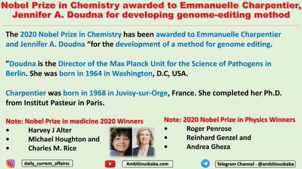Nobel Prize in Chemistry awarded to Emmanuelle Charpentier, Jennifer A. Doudna for developing genome-editing method