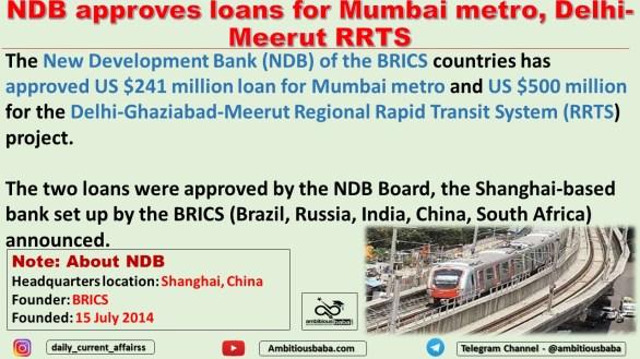 NDB approves loans for Mumbai metro, Delhi-Meerut RRTS