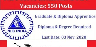 NLC for Graduate And Diploma Apprentice Recruitment 2020 : 550 Post check here