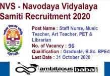 NVS for Librarian,Art,Music Teacher & Staff Nurse Recruitment 2020 : 96 Post check here