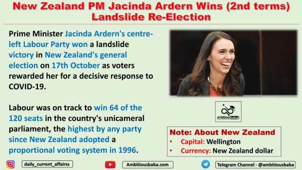 New Zealand PM Jacinda Ardern Wins (2nd terms) Landslide Re-Election