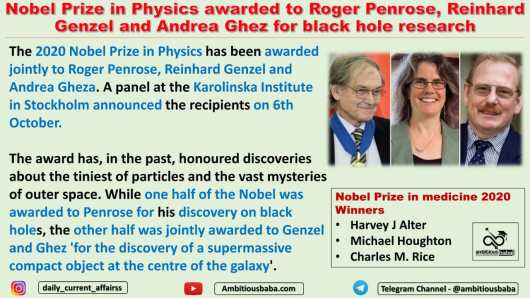 Nobel Prize in Physics awarded to Roger Penrose, Reinhard Genzel and Andrea Ghez for black hole research