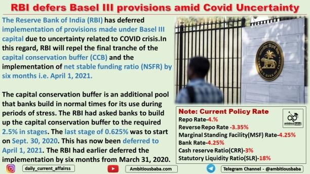 RBI defers Basel III provisions amid Covid Uncertainty