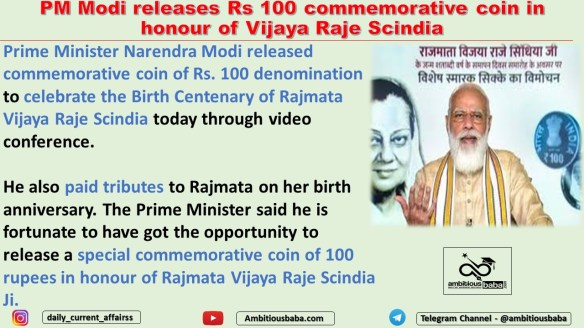 PM Modi releases Rs 100 commemorative coin in honour of Vijaya Raje Scindia