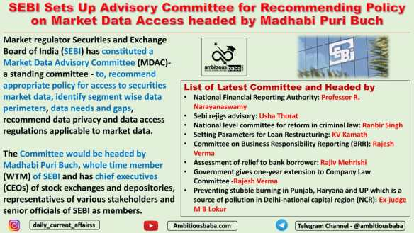 SEBI Sets Up Advisory Committee for Recommending Policy on Market Data Access headed by Madhabi Puri Buch