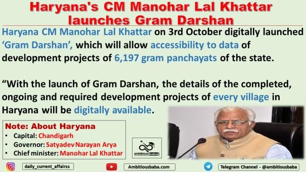 Haryana's CM Manohar Lal Khattar launches Gram Darshan