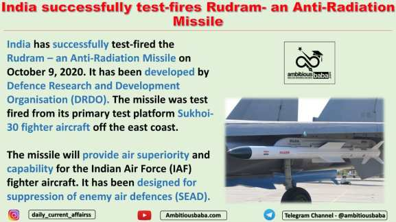 India successfully test-fires Rudram- an Anti-Radiation Missile