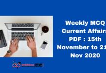 Weekly MCQ Current Affairs PDF : 15th November to 21st Nov 2020