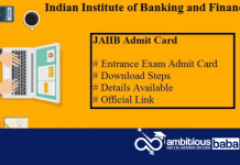 JAIIB Admit Card 2020 : Download