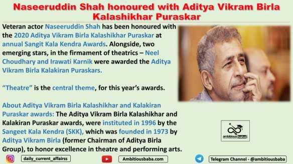 Naseeruddin Shah honoured with Aditya Vikram Birla Kalashikhar Puraskar