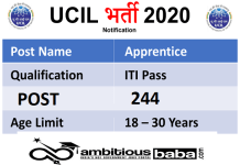 UCIL for Apprentice Recruitment 2020 : 244 Post check here