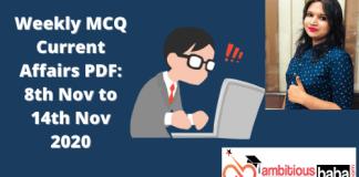 Weekly MCQ Current Affairs PDF _ 8th to 14th Nov 2020