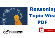 Reasoning ability Topic-Wise PDF