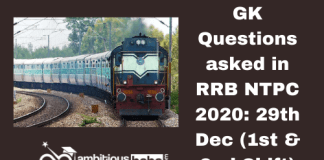 GK Questions asked in RRB NTPC 2020: 1st Shift & 2nd, 29th December 2020