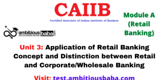 Application of Retail Banking Concept and Distinction between Retail and Corporate/Wholesale Banking