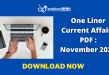 One Liner Current Affairs PDF : November 2020