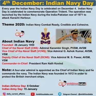 December 4- Indian Navy Day