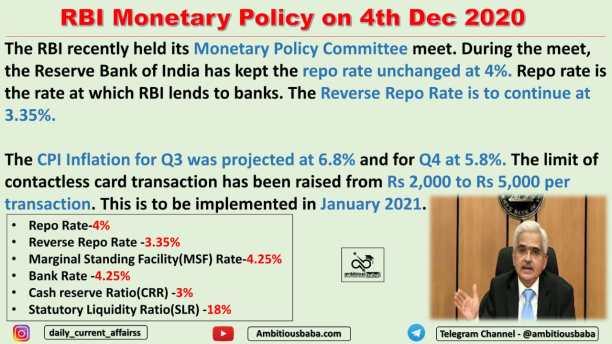 RBI Monetary Policy on 4th Dec 2020
