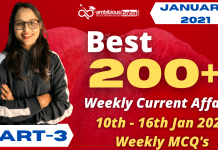 Weekly MCQ Current Affairs PDF : 10th to 16th Jan 2021