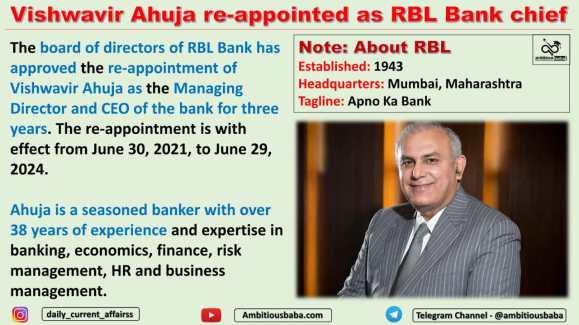 Vishwavir Ahuja re-appointed as RBL Bank chief