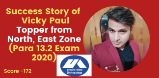 Success Story of Vicky Paul Topper from North, East Zone (Para 13.2 Exam 2020)