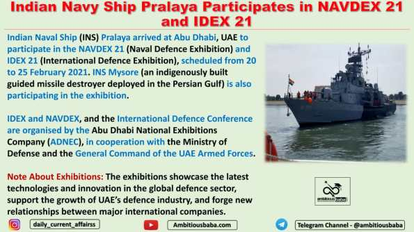 Indian Navy Ship Pralaya Participates in NAVDEX 21 and IDEX 21