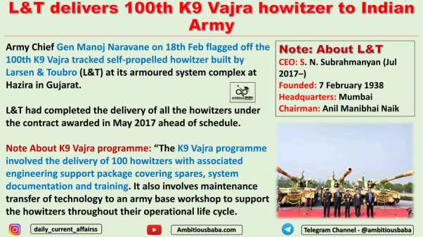 L&T delivers 100th K9 Vajra howitzer to Indian Army