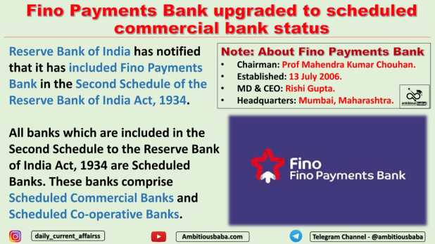 Fino Payments Bank upgraded to scheduled commercial bank status