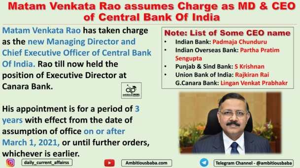 Matam Venkata Rao assumes Charge as MD & CEO of Central Bank Of India