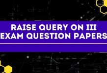 raise query on iii exam question papers