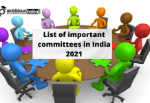 list of important committees in India 2021