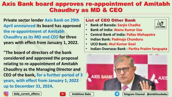 Axis Bank board approves re-appointment of Amitabh Chaudhry as MD & CEO