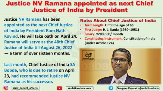 Justice NV Ramana appointed as next Chief Justice of India by President