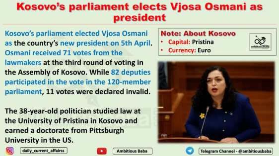 Kosovo's parliament elects Vjosa Osmani as president