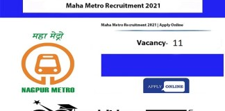 Maha Metro Recruitment 2021 : 11 Post for JE, Manager