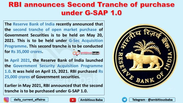 RBI announces Second Tranche of purchase under G-SAP 1.0