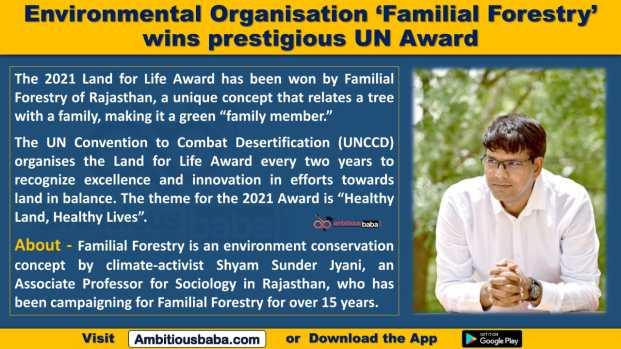 Environmental Organisation 'Familial Forestry' wins prestigious UN Award