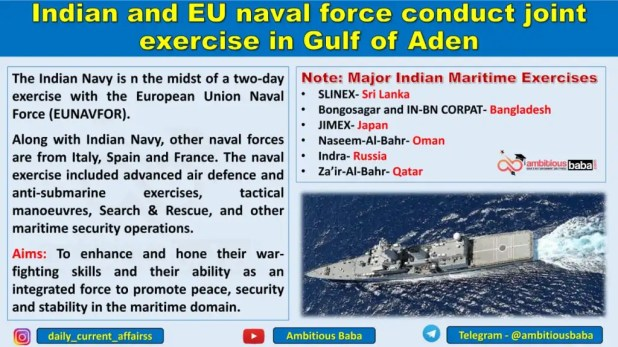 Indian and EU naval force conduct joint exercise in Gulf of Aden