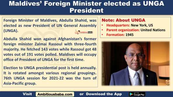 Maldives' Foreign Minister elected as UNGA President