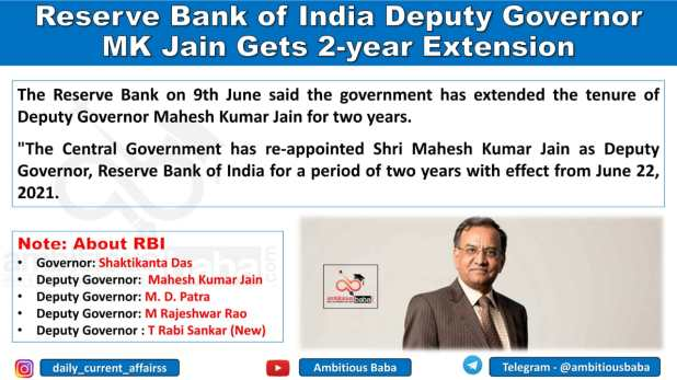 Reserve Bank of India Deputy Governor MK Jain Gets 2-year Extension
