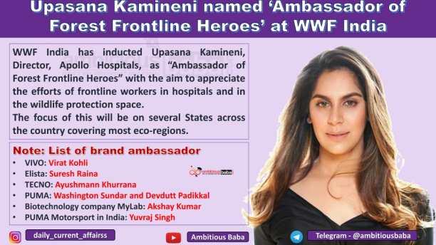 Upasana Kamineni named 'Ambassador of Forest Frontline Heroes' at WWF India
