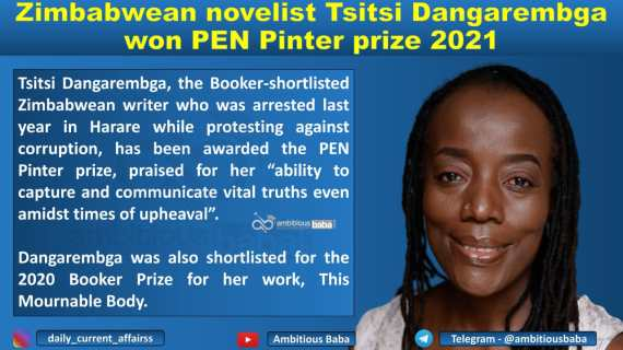 Zimbabwean novelist Tsitsi Dangarembga won PEN Pinter prize 2021