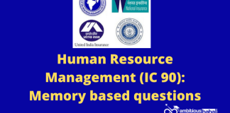 Human Resource Management (IC 90): Memory based questions