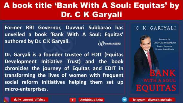 A book title 'Bank With A Soul: Equitas' by Dr. C K Garyali