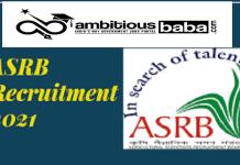 ASRB Recruitment 2021 : 65 Post for AO, Finance & Accounts Officer