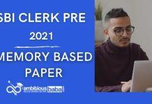 SBI Clerk Pre memory Based Paper 2021