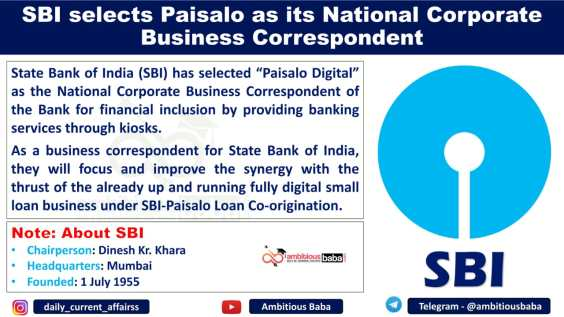 SBI selects Paisalo as its National Corporate Business Correspondent