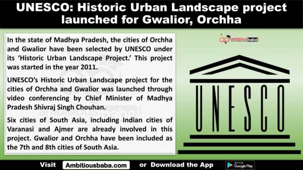 UNESCO: Historic Urban Landscape project launched for Gwalior, Orchha