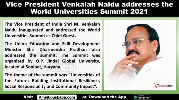 Vice President Venkaiah Naidu addresses the World Universities Summit 2021